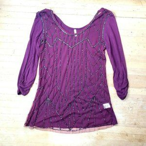 Vanity Womens Sz S Maroon Beaded Shear Outer Layer
